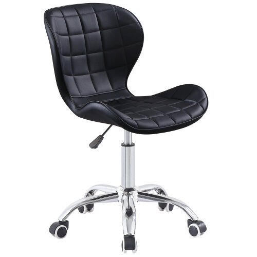 (Black) Charles Jacobs Adjustable Swivel Chair   Office Chair With Chrome Wheels