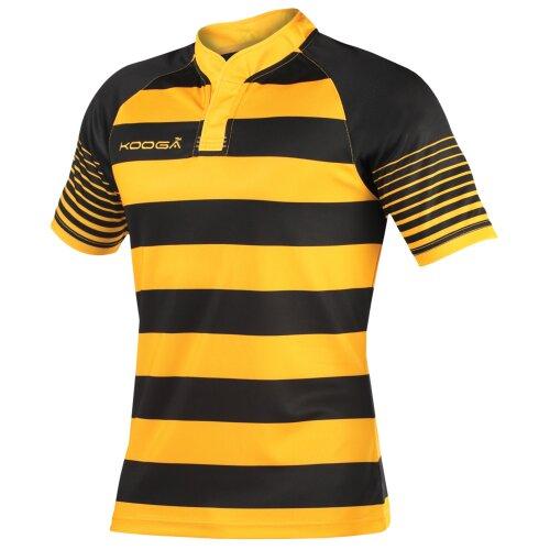 (Y, Black/Gold) KooGa Boys Junior Touchline Hooped Match Rugby Shirt