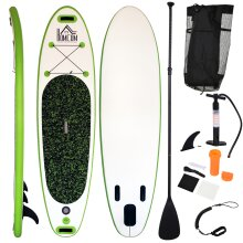HOMCOM Inflatable Green & White Paddle Board | Surfboard With Paddle, Fix Bag, Air Pump, Fin & Backpack