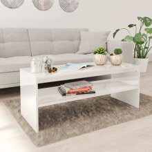 vidaXL Coffee Table with a Shelf High Gloss White Chipboard Side Table Bedroom