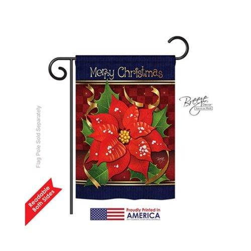 Breeze Decor 64087 Christmas Poinsettia Love 2-Sided Impression Garden Flag - 13 x 18.5 in.