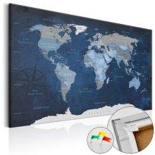 Decorative Pinboard - Dark Blue World [Cork Map]
