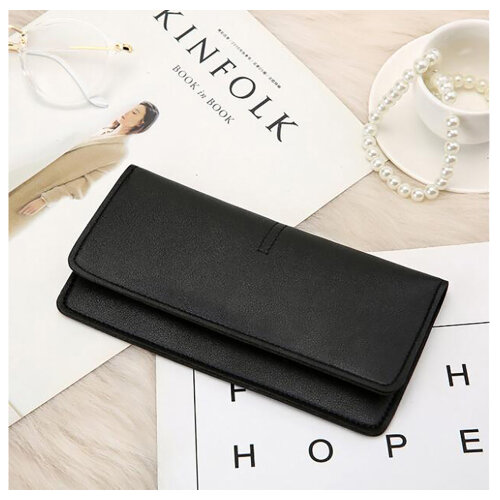 Soft PU Leather Bifold Multi Card Holder Wallet, Elegant Clutch Long Purse for Women Ladies-Black