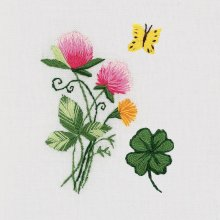 Panna Embroidery Kit - Flowers, Clover & Butterfly -  With soluble Canvas - Embroider on any textile