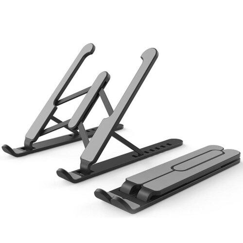 (Black) Adjustable&  Foldable Laptop Stand Desktop Notebook Holder & Laptop Tray Desk Riser