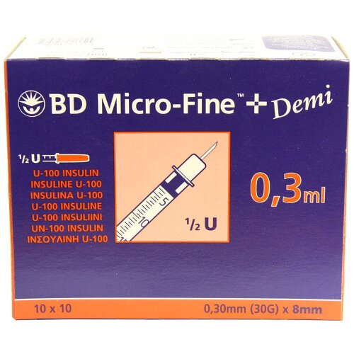 BD Micro-Fine Demi 0.3ml Syringe 0.3mm (30G) x 8mm