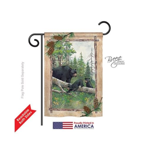 Breeze Decor 60043 Wildlife & Lodge Black Bear & Cubs 2-Sided Impression Garden Flag - 13 x 18.5 in.