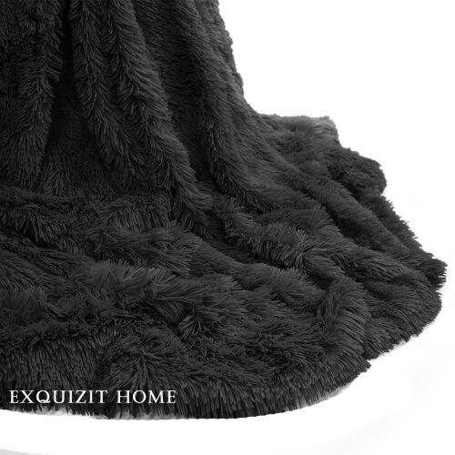 (Black) Teddy Cuddly Hug Snug Throw Warm Fleece Blanket