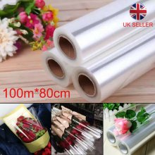 100mX80cm Wide Plain Clear Florist Craft Cellophane Roll Film Wrap