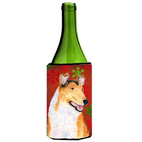 Collie Smooth Red Green Snowflakes Christmas Wine bottle sleeve Hugger - 24 oz.