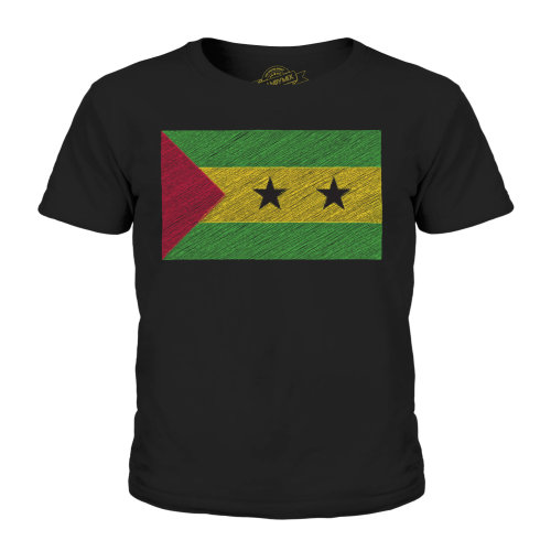 (Black, 9-10 Years) Candymix - Sao Tome E Principe Scribble Flag - Unisex Kid's T-Shirt