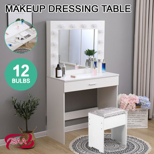 Led Light Dressing Table With Stool And, Redstone Dressing Table With Stool And Mirror White