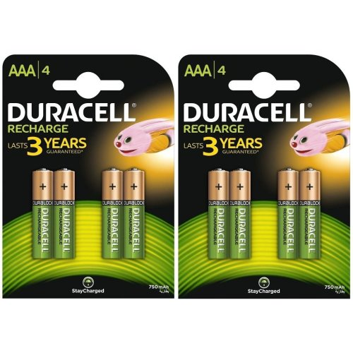 8 X Duracell 750mAh AAA Size Rechargeable Accu Batteries