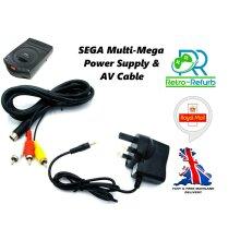 SEGA Multi Mega Power Supply UK Plug + AV Lead Bundle
