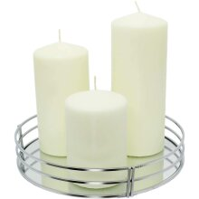 Luxury Silver Mirror Tray Mirror Glass Decorative Candle Plate Table