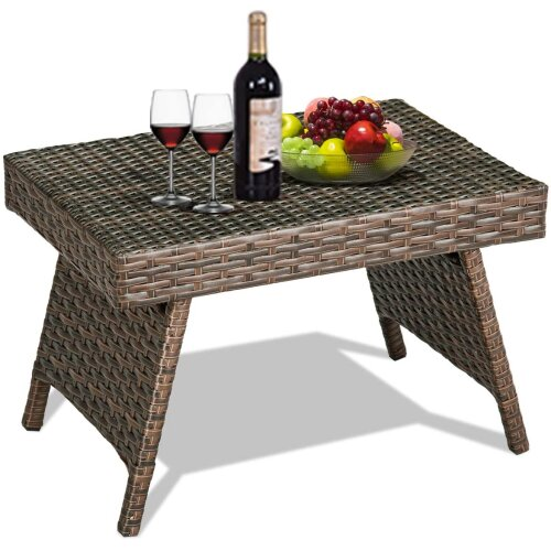 Mix Brown Folding Rattan Side Coffee Table Patio Garden Outdoor