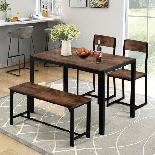 Dining Table and Chairs, bench Set Industrial style Retro Kitchen Dining Table Set