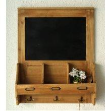 Wooden Chalkboard Blackboard Message Memo Board with Key Coat Hooks