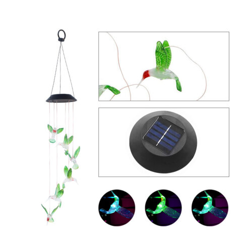 Hanging Hummingbird LED Outdoor RGB Wind Chimes Solar Powered Lamp