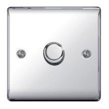 BG Electrical NPC81P Nexus 400 W 1 Gang 2 Way Metal Polished Chrome Push On/Off Dimmer Switch