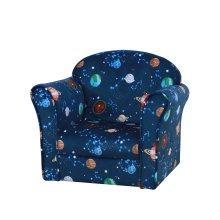 HOMCOM Mini Child Sofa Space Planted Themed Wood Frame Padding High Back Blue