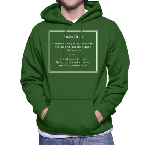 Religious Quotes Shadow Of The Almighty Psalm 91 1 2 Men's Hooded Sweatshirt