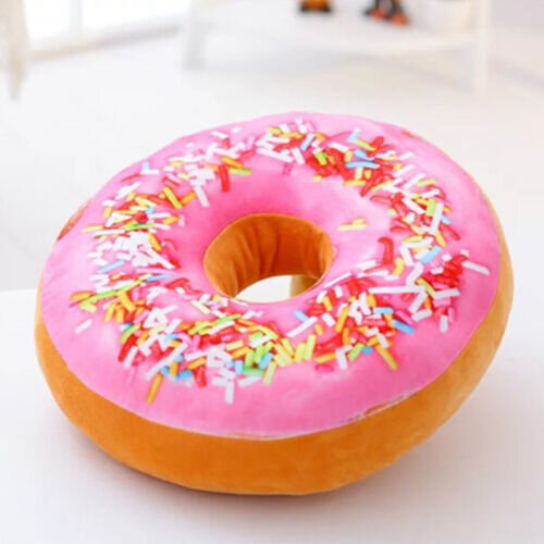 (#6 Pink Lady) Cute Round Donuts Throw Pillow Case Doughnut Cushion Covers Home Decoration Gift