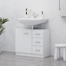 vidaXL Sink Cabinet White Chipboard Bathroom Cupboard Storage Rack Organiser