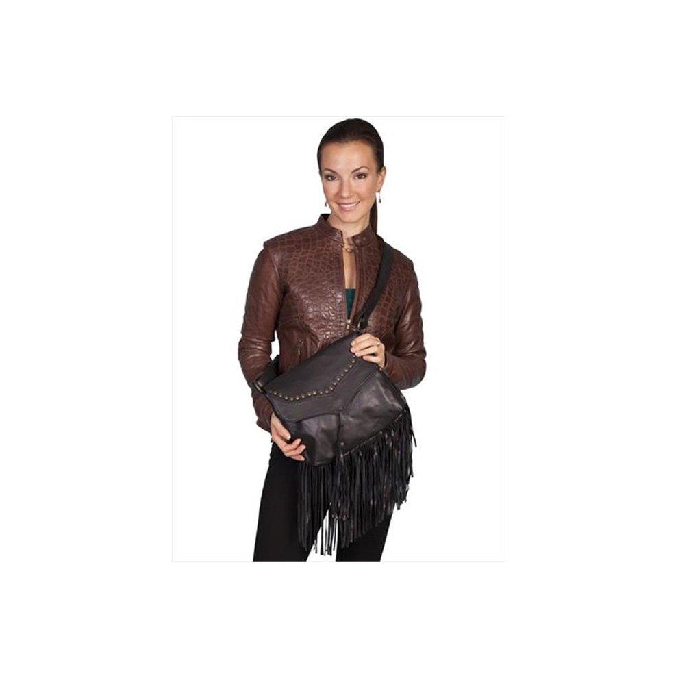 100 Percent Leather Handbag With Studded Flap And Fringe, Black