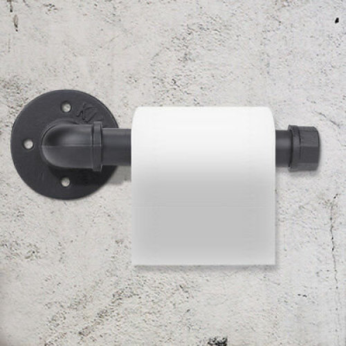 Industrial Rustic Toilet Paper Roll Holder Iron Wall Mounted Pipe