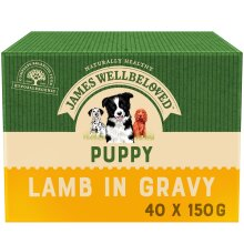 40 x 150g James Wellbeloved Puppy Natural Wet Dog Food Pouches Lamb & Rice