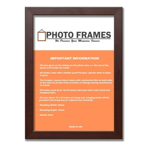 (Mahogany, A5- 210x148mm) Picture Photo Frames Flat Wooden Effect Photo Frames