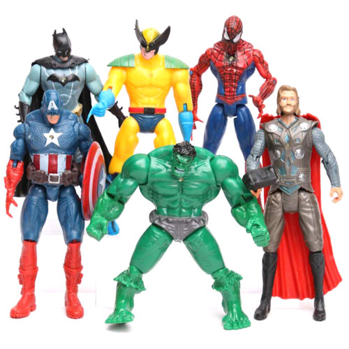 6pcs Avengers 2 Hulk Spider-Man Iron Man Figure Toy Captain America