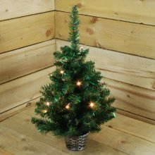 60cm Pre Lit Iridescent Christmas Tree In Basket With 15 Warm White Led's With Timer