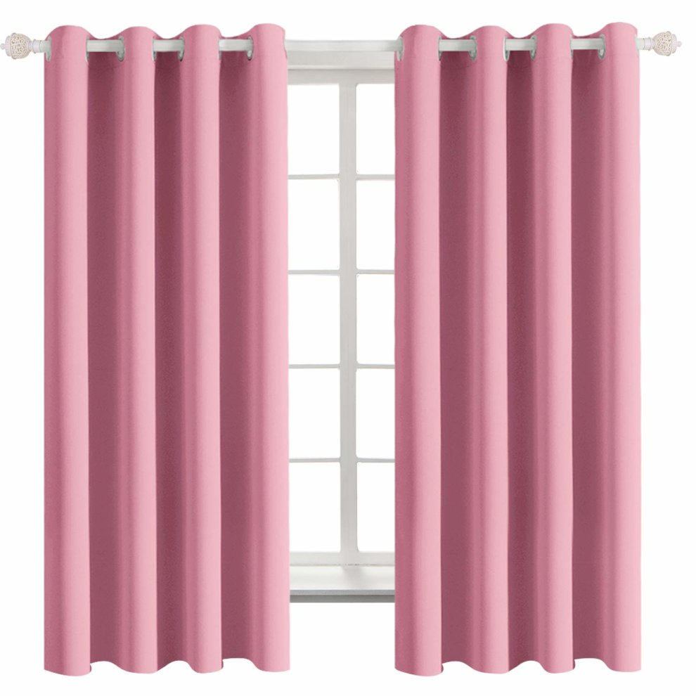 Pink Blackout Curtains For Bedroom Thermal Insulated Eyelet Super Soft Draperies Room Darkening Window Treatment Curtain For Livingroom 2 On Onbuy