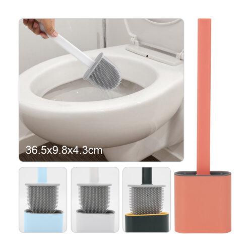 Silicone toilet brush hanging brush set with toilet brush holder