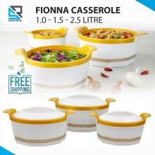 3Pc Hot Pot Thermal Insulated Casserole Food Warmer Serving Dish White