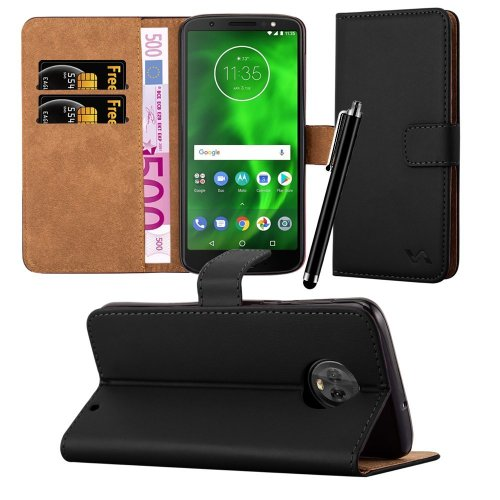 For Moto G6 Plus Leather Wallet Folio Case Cover