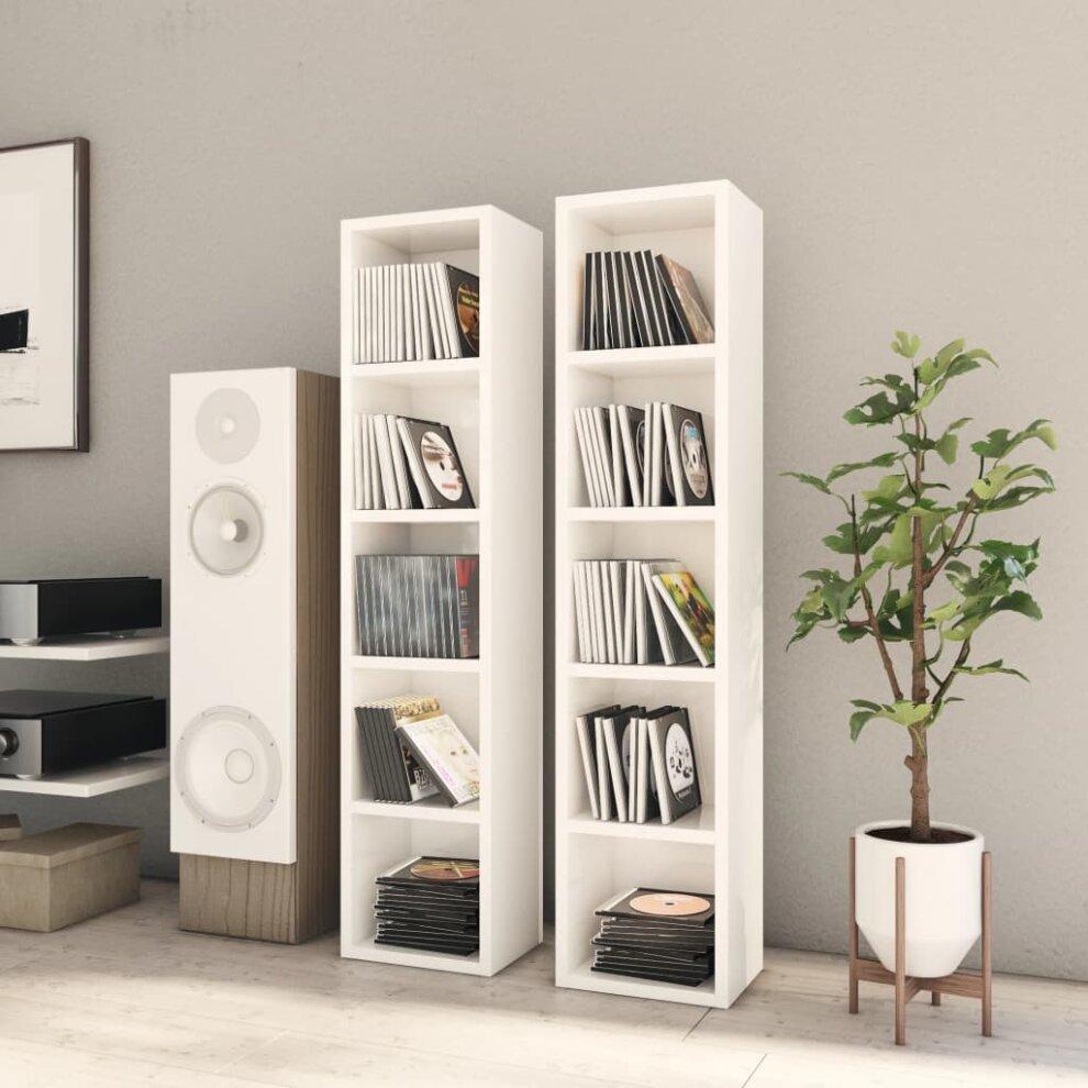 vidaXL 2x CD Cabinets High Gloss White Chipboard Media Storage Rack Bookcase