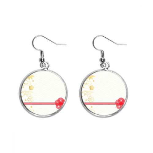 Golden Sakura Geometry Flowers Pattern Ear Dangle Silver Drop Earring Jewelry Woman