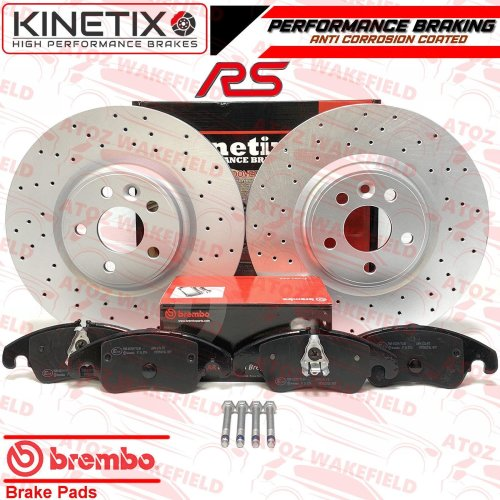 FORD FOCUS 2.5 RS MK2 FRONT DRILLED PERFORMANCE BRAKE DISCS BREMBO PADS RS500