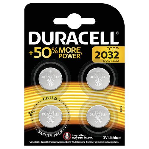 Duracell 2032 Lithium Coin Battery Pack of 4 ECR2032 DU11937