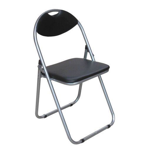 Premier Housewares Folding Chair Stylish Bedroom Chairs Modern Black Finish Reading Chair Lightweight Fabric Chairs Padded Seat 79 x 44.5 x 47
