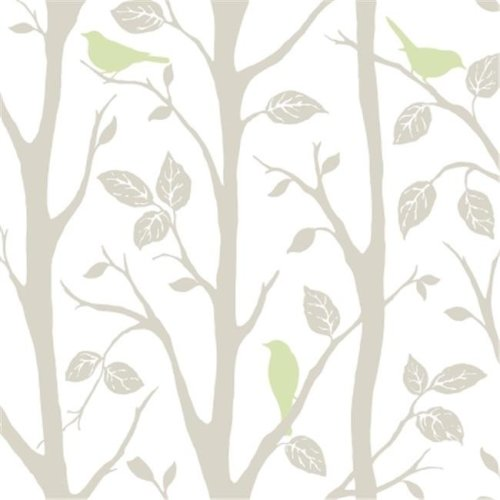NuWallpaper NU1655 Sitting In A Tree Peel and Stick Wallpaper, Grey & Green