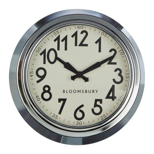 Bloomsbury Wall Clock, Chrome - 25 x 8 cm