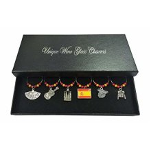 Spanish Spain Wine Glass Charms with Gift Box