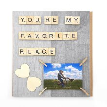 Personalized Photo Frame You Are My Favorite Place Scrabble Word Art Photography Print Modern Photo Peg Holder Girlfriend Fiance