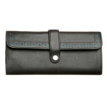 Black Leather Purse With Turquoise Lining & Mini Pen By Cross