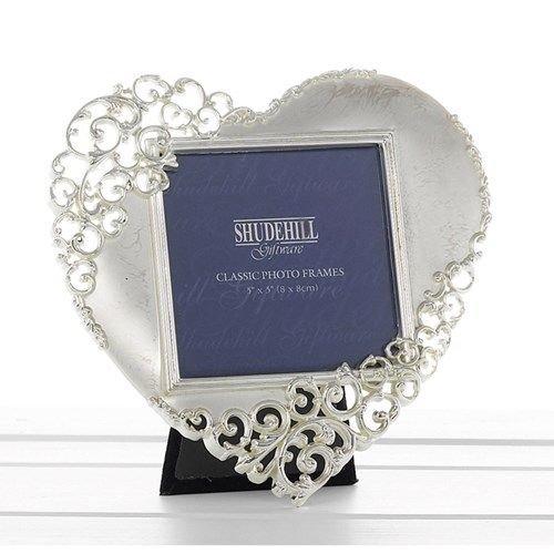 Satin Silver Lace Ornate  Metal Heart Photo Frame - 3cm x 3cm