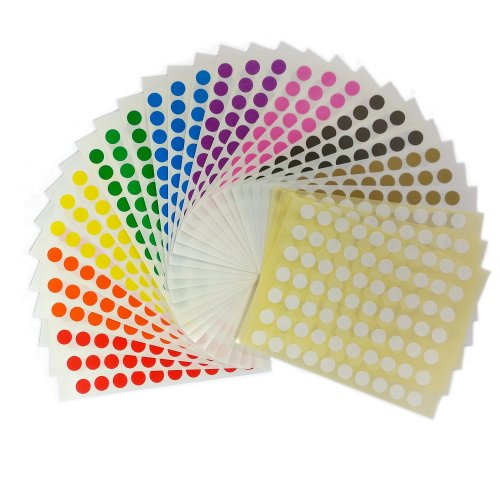 2,100 Sticky Coloured 8mm Self Adhesive Circle Dot Labels - Ten Colours - 232755